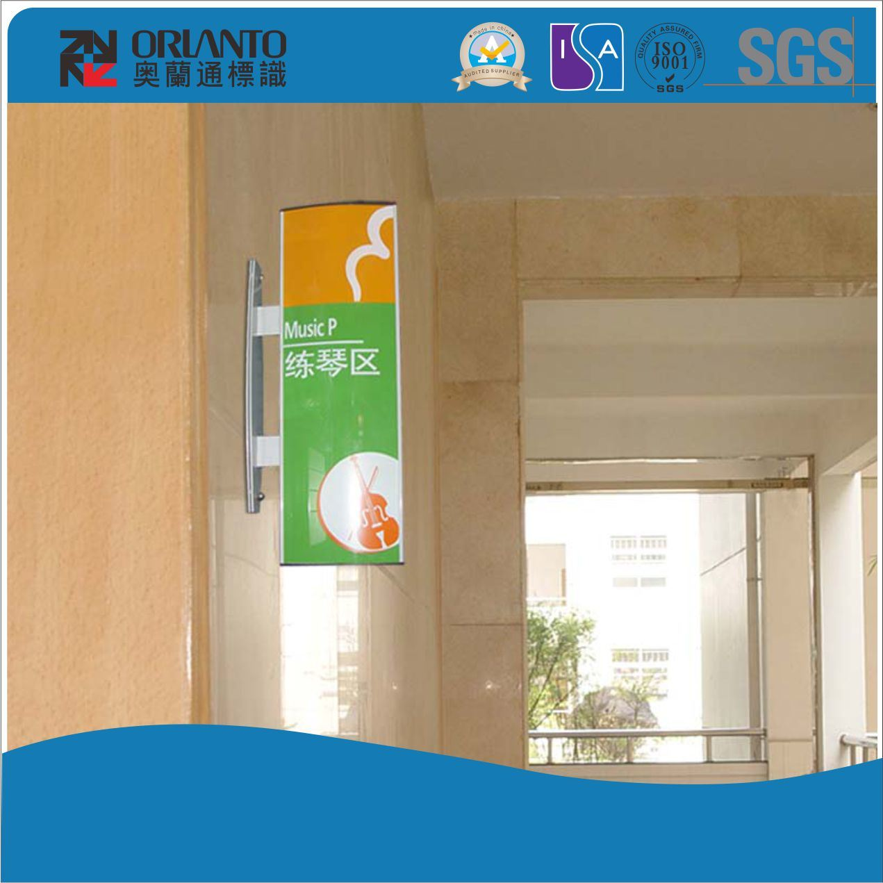 Paper Insert Double Sides Wall Bracket Sign