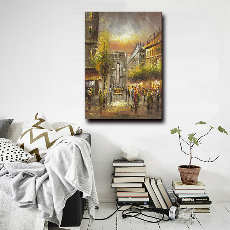Hotel&Homde Decorative Wall Art Paris Street Art Canvas Oil Painting