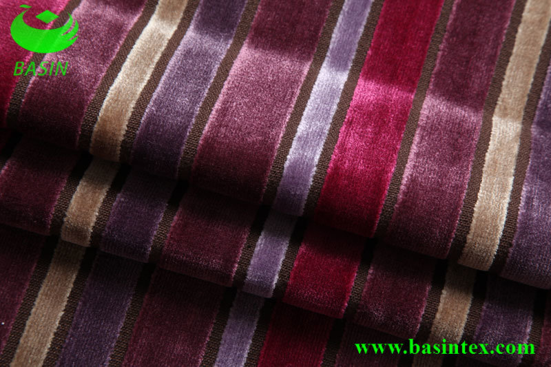 Stripe Velvet Sofa Fabric (BS4011)