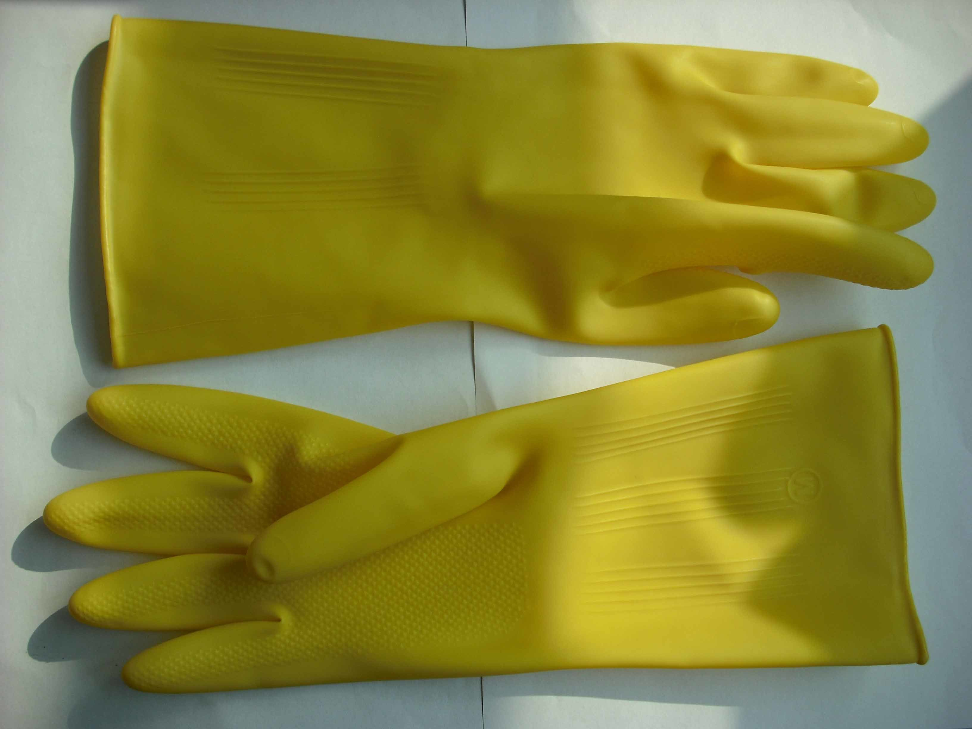 32.5cm Long Cuff Latex Cleaning Gloves/ Rubber Household Gloves with Cotton Lining Inside/ Keep Warm Rubber Gloves