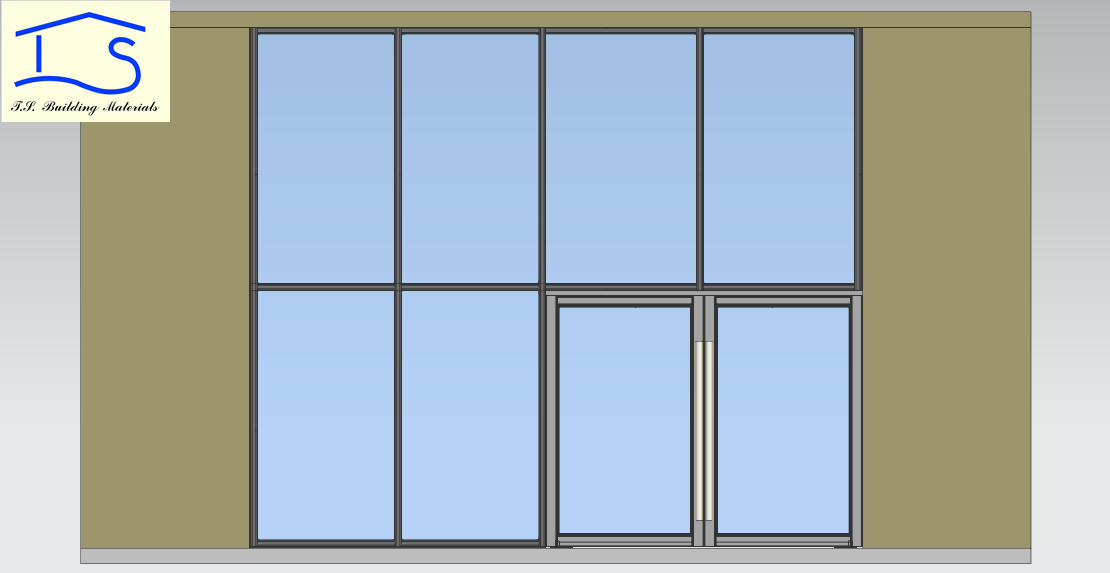 Aluminum Storefront Glass Wall with Entrance Door