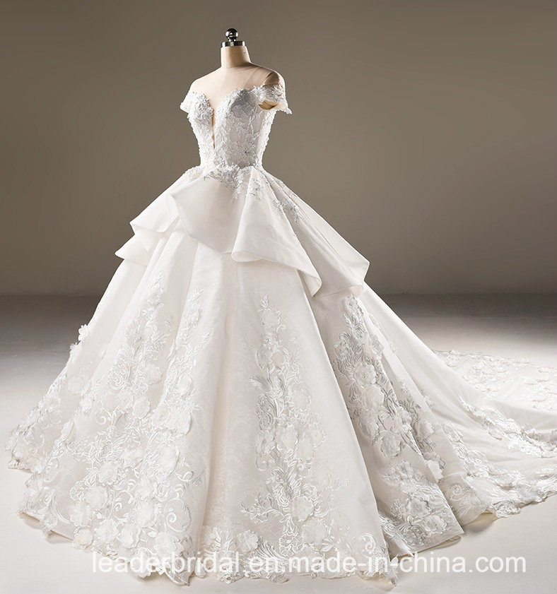 Flora Bridal Ball Gowns Lace Tulle Short Sleeves Wedding Dress 2018 B32