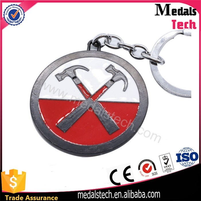 Colorful Metal Shiny Nickel Plated Metal Souvenir Hard Enamel Keychain