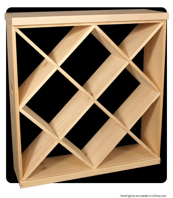 Classical Solid Wood Cube Wine Rack for Display Stand Furniture