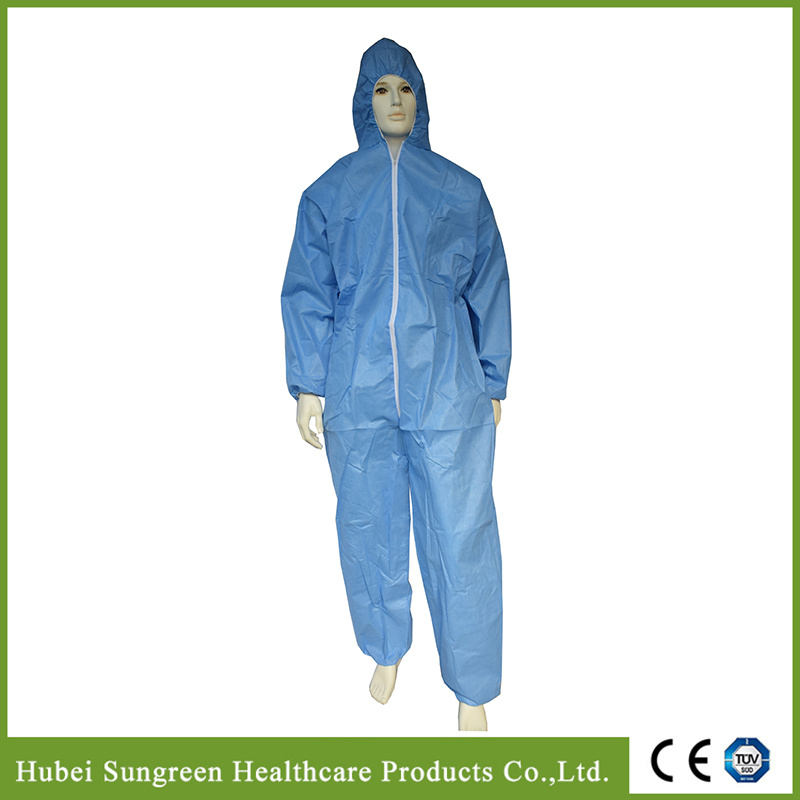 Disposable Light Blue SMMS Protective Coverall, Disposable Overall