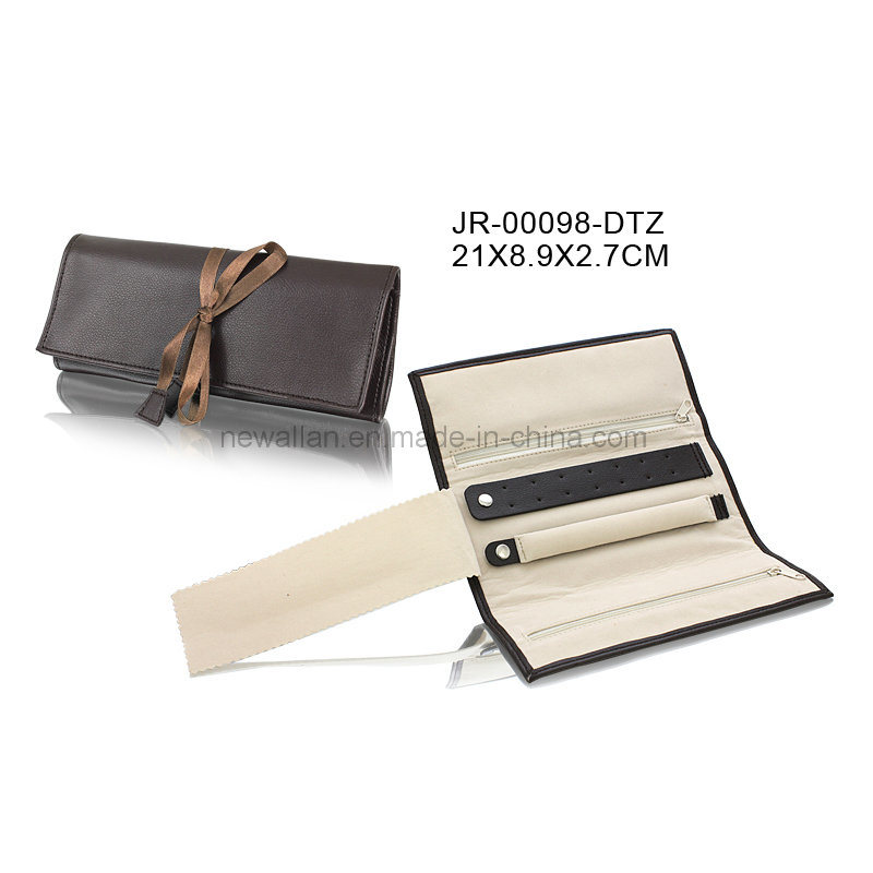 Portable Brown Leather Travel Gift Jewelry Packing Pouch Jewelry Pouch