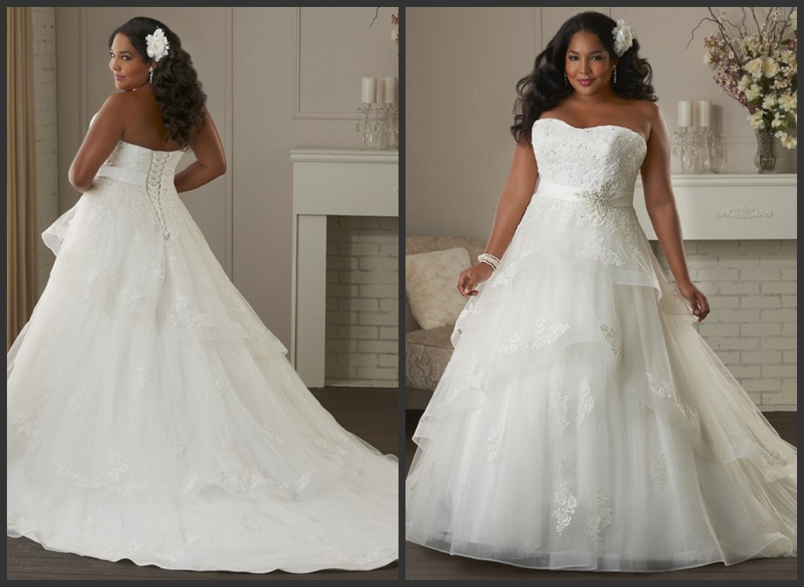 Strapless Bridal Gowns Lace Customized Plus Size Wedding Dress M208