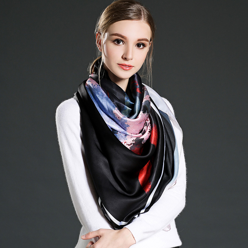 Black Woman 100% Silk Satin Big Square Scarf