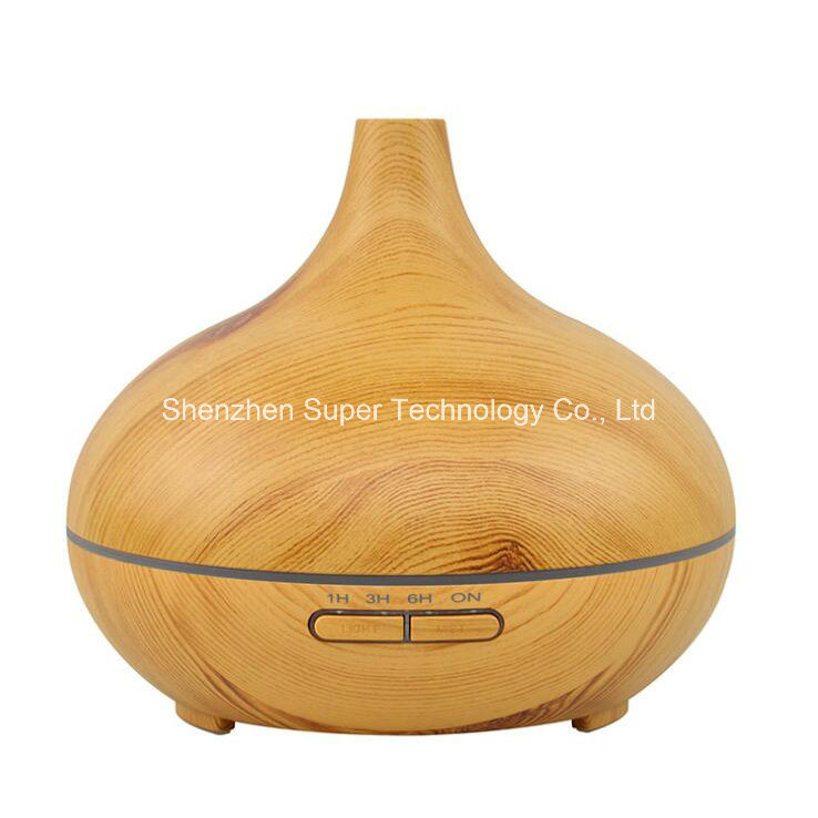 Ultrasonic Cool Mist 7-Color LED Light Wood Grain Aroma Diffuser