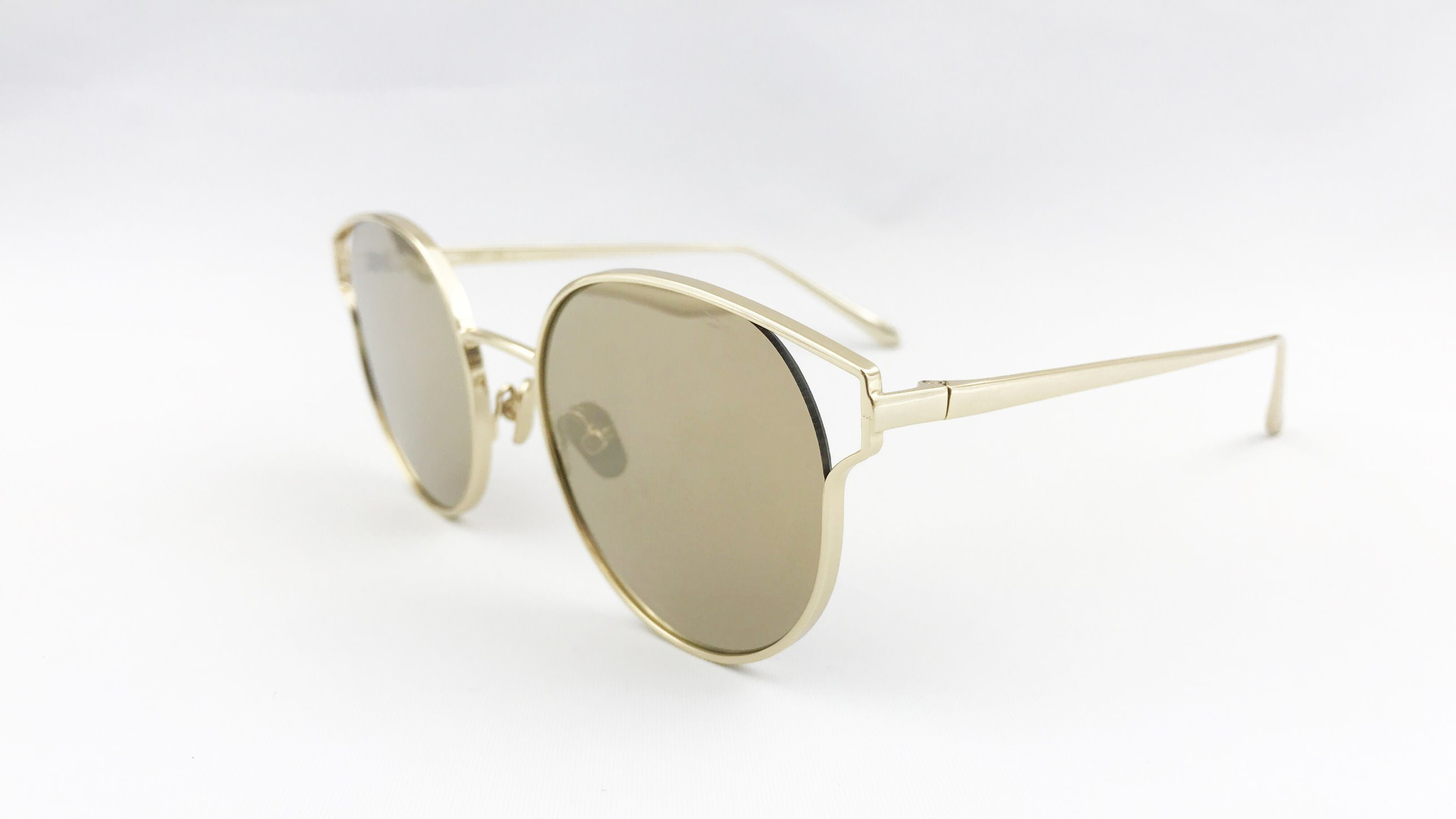 2017 Fashion Unisex Metal Sunglasses, Nylon Lens with Gold Mirror
