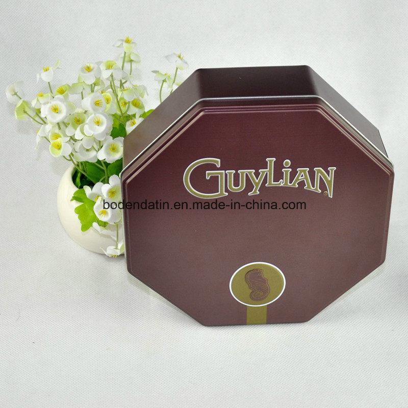 Custom Metal Chocolate Packaging Tin Box with Octagonal Shape