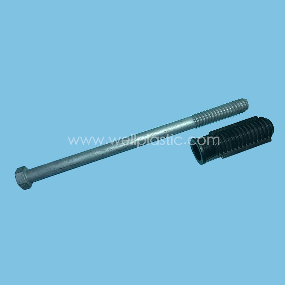 Plastic Bolt Socket with Headed Threaded Bolt HDG