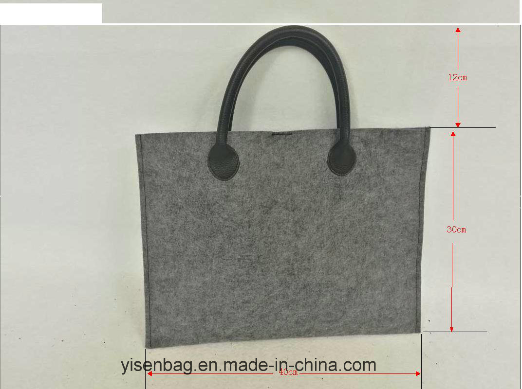 Fashion Business File PU Tote Felt Handbag