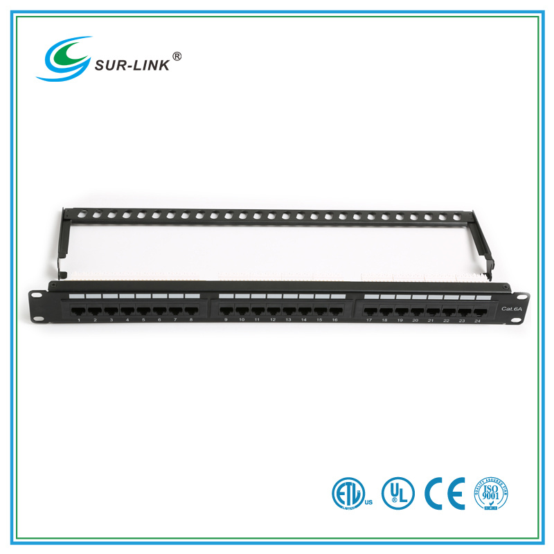 24 Port CAT6A UTP Patch Panel with Back Bar