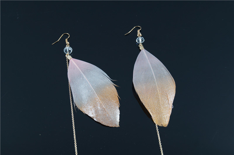 Fashion Feather Earring with Chain String