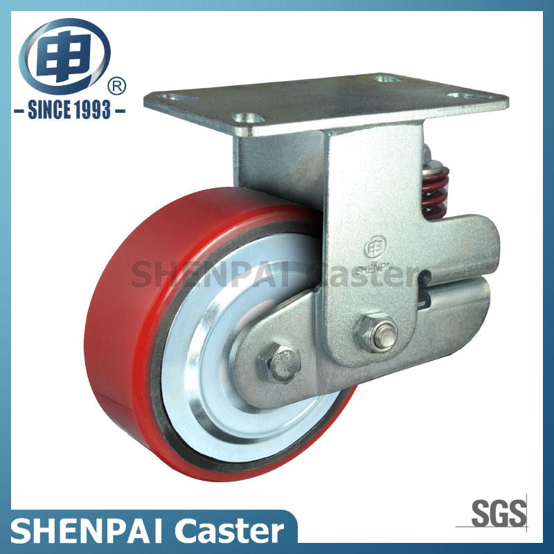 "5""Iron Core PU Single Springs Swivel Shockproof Caster Wheel"