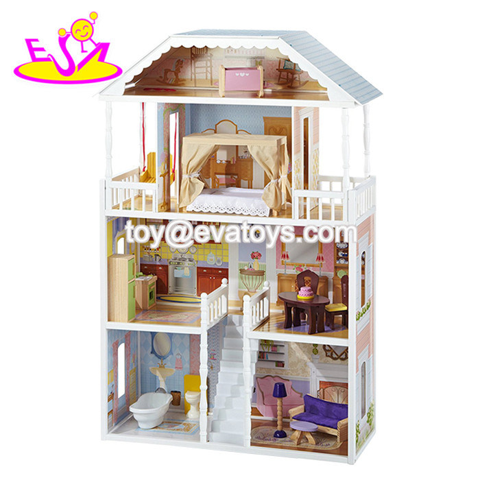 New Design Beautiful Princess Wooden Dollhouse for Children W06A218