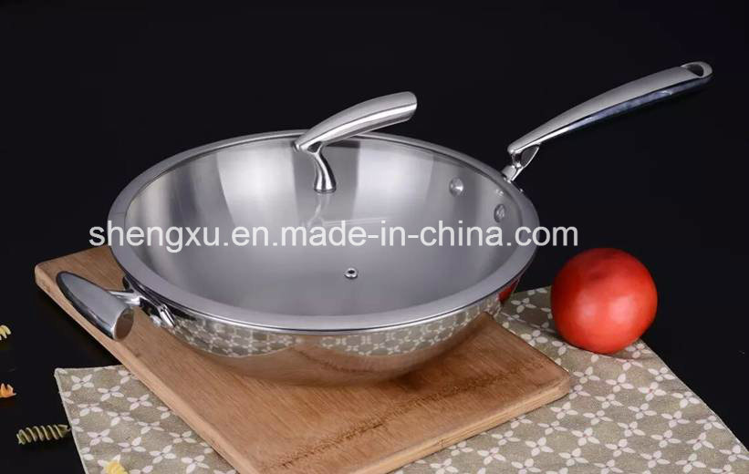 18/10 Stainless Steel Cookware Chinese Wok Cooking (SX-WO32-25)