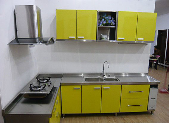 China modern stainless steel kitchen cabinets furniture for Steel kitchen cabinets