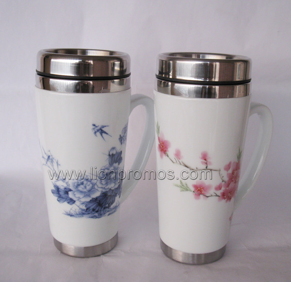 Logo Automotive Promotional Gift Double Walls Car Travel Mug
