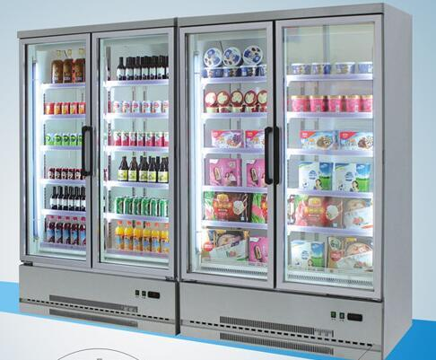 Supermarket Glass Doors Fresh Fruit Display Cooler
