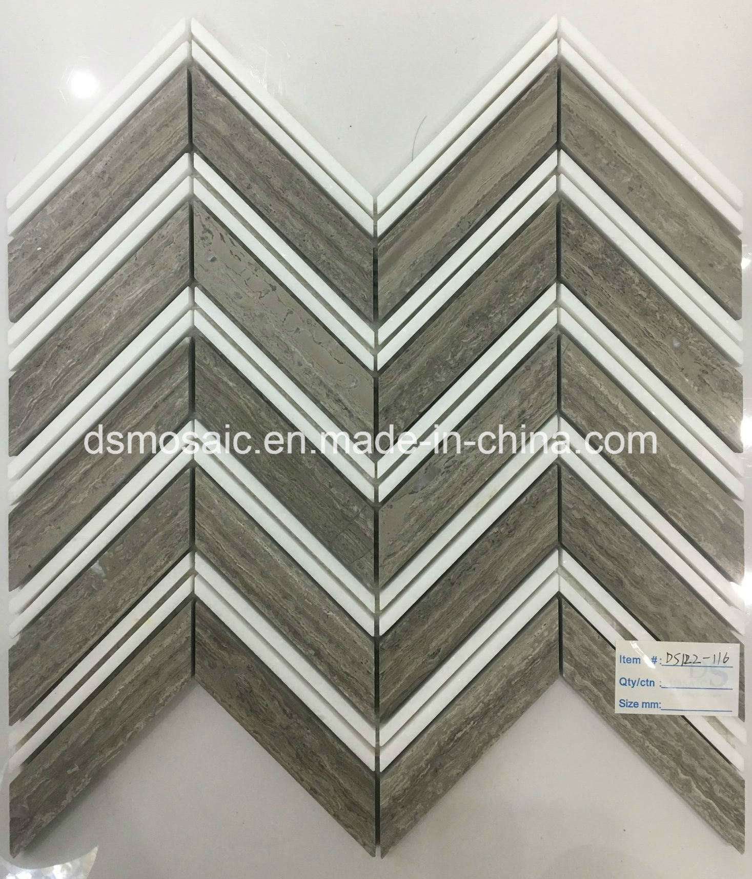 Hot Sale Grain Grey Herringbone Marble Mosaic Tile