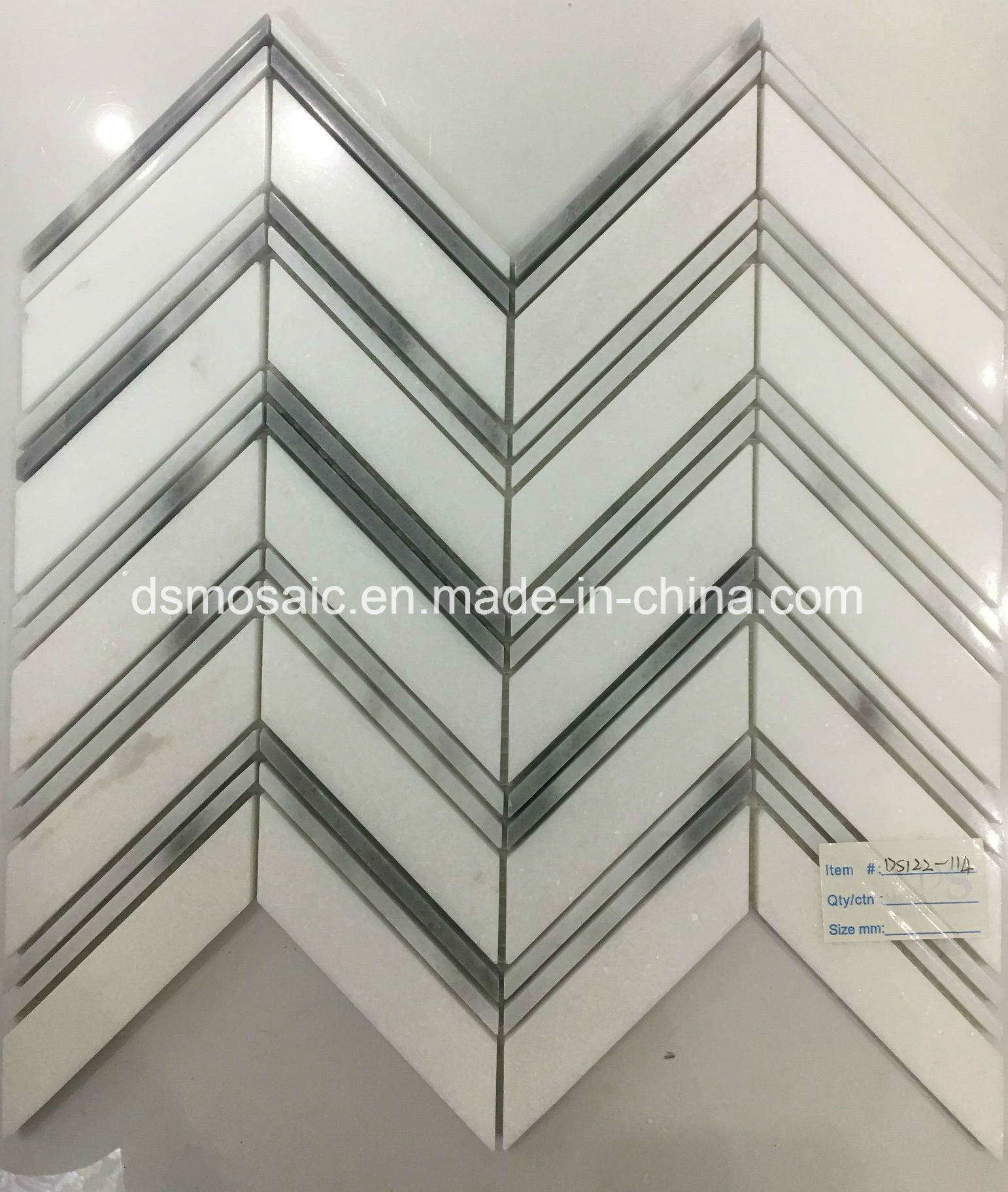 Hot Sale Grain Grey Herringbone Marble Mosaic Tile