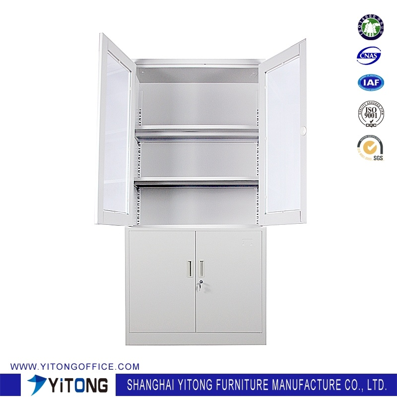 4-Door Glass Door Metal Storage Cabinet / Office Use Steel File Cabinet