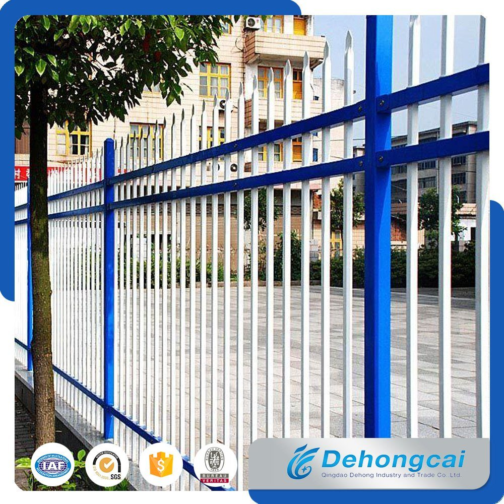 Used Welded Galvanized Black Powder Coating Wrought Iron Fence /Ranch /Garden/Pool Steel Fencing with Flattened Spear