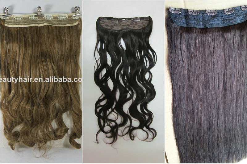 Clip in on Synthetic DIP Dye Wig Ombre Hairpieces Two Tone Straight Hair Extension