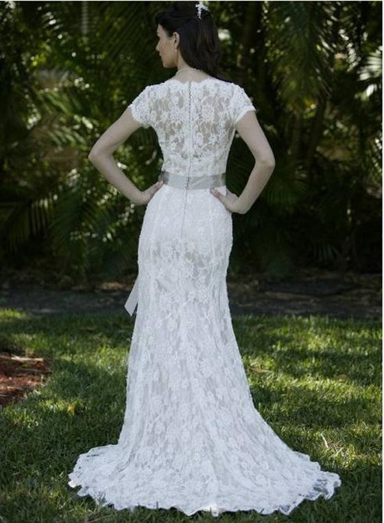 China french lace wedding dress short sleeves bridal for Sheath v neck wedding dress