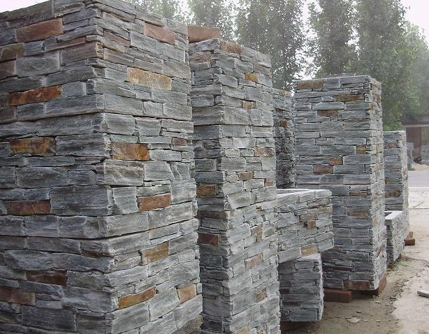Natural Stone Columns : China cheap natural slate stone pillar from photos
