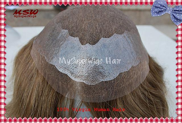 French Lace Human Hair Toupee with Poly Binding