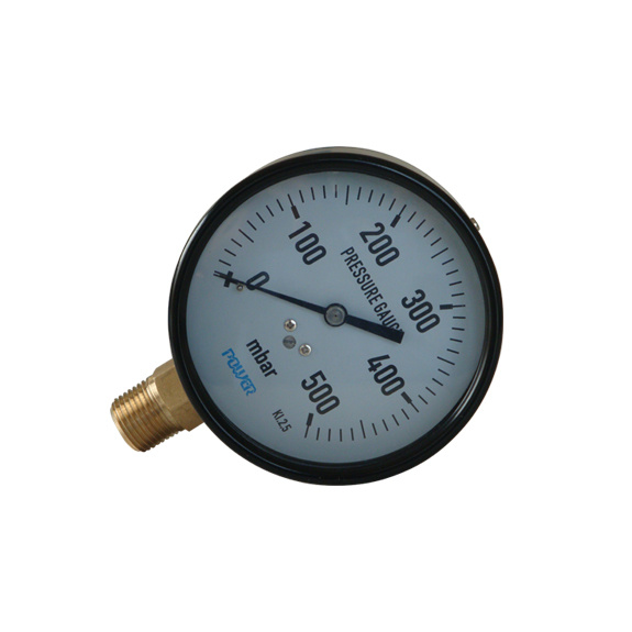100mm Black Steel Case 500mbar Bottom Type Capsule Pressure Gauge