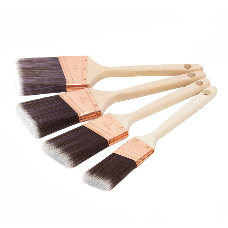 Angular Sash Brush with Wood Handle B024