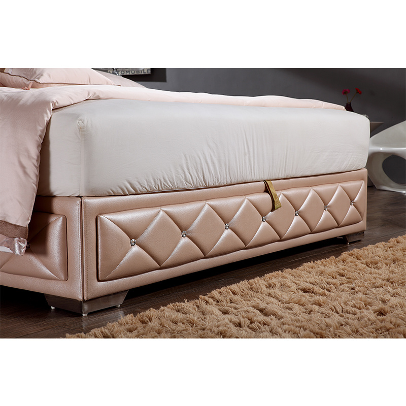 Baby Pink Color Leather Bed for Bedroom Use (FB2103)