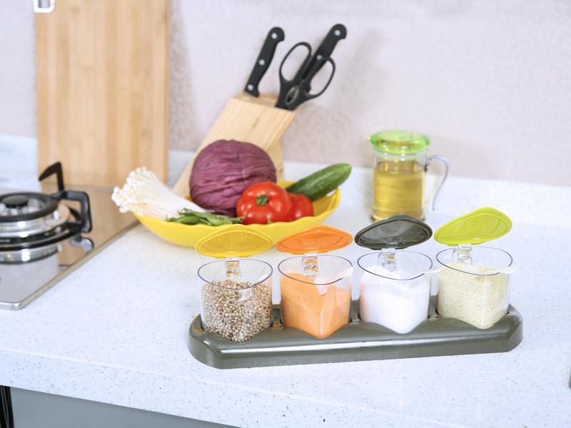 Metka Kitchen Condiment Dispenser Seasoning Box 4 Cans