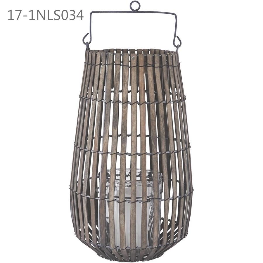 Vintage Unique with Handle of Wooden Weave Lanterns