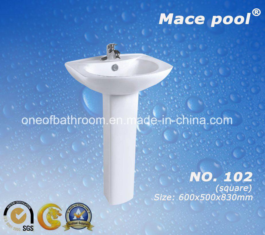 Bathroom Sanitary Ware Wash Basin Ceramic Pedestal Basin (102)