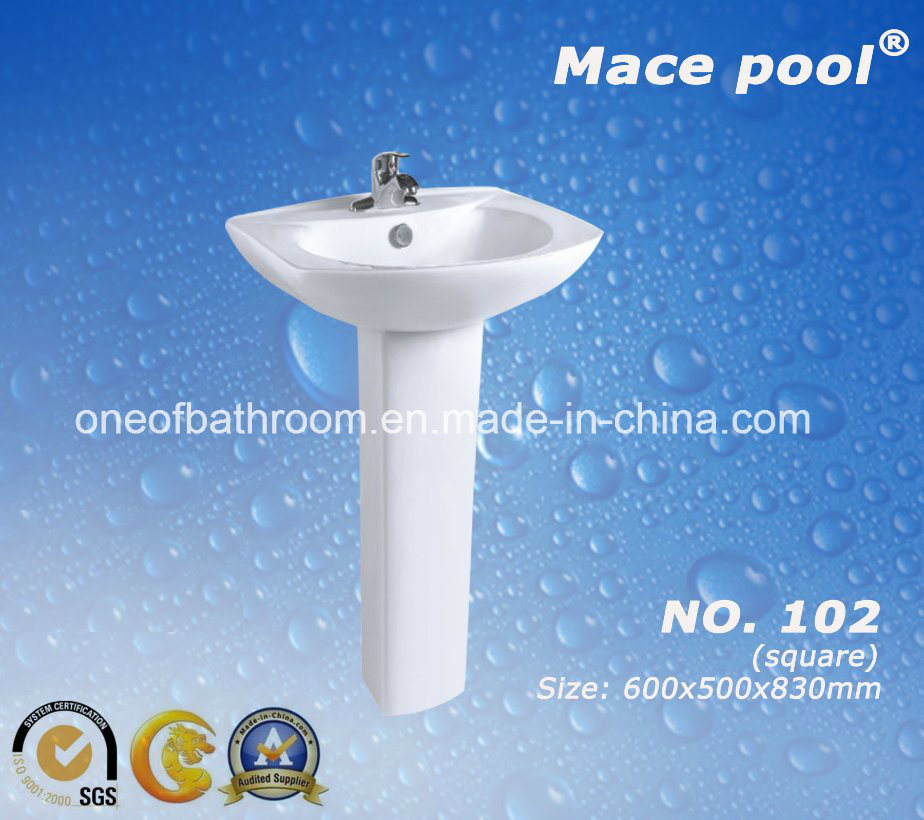 Bathroom Sanitary Ware Wash Hand Ceramic Pedestal Basin (102)