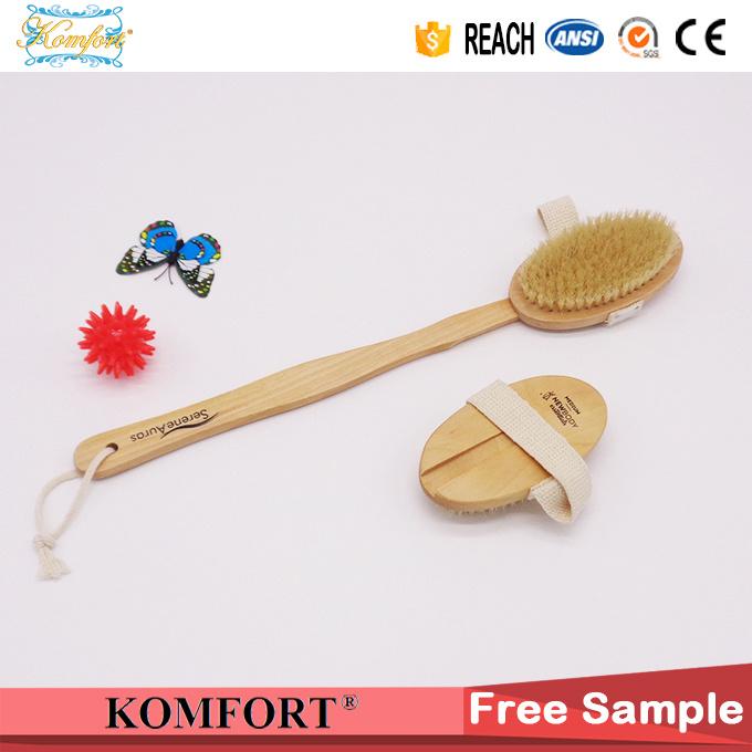Wooden Bath Wash Bristle Exfoliating Back Scrub Body Brush