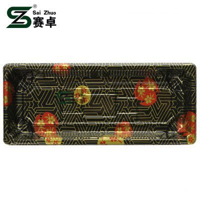 Floral Printed Top Grade Disposable Plastic Sushi Tray (S02)