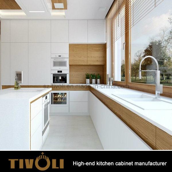 Wood Veneer Mixing White Painting High Gloss Finishing Kitchen Cabinets Tivo-0007V