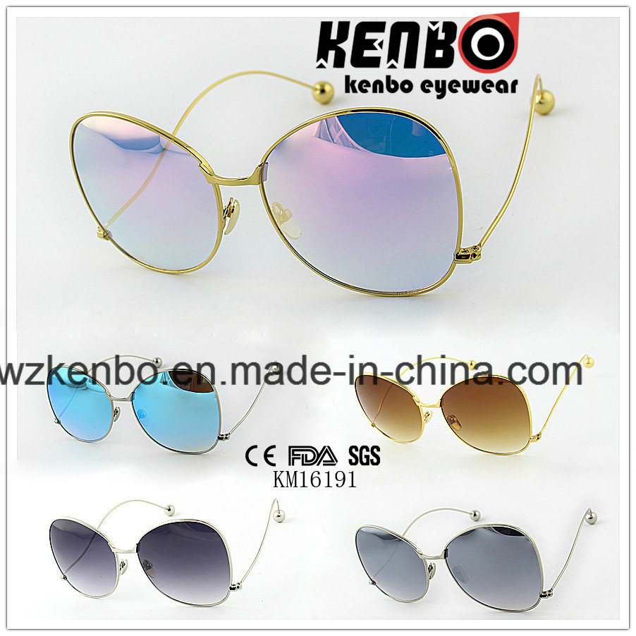 Hottest Sale Metal Sunglasses with Oversize Shape Frame Km16191 Temple End with Ball