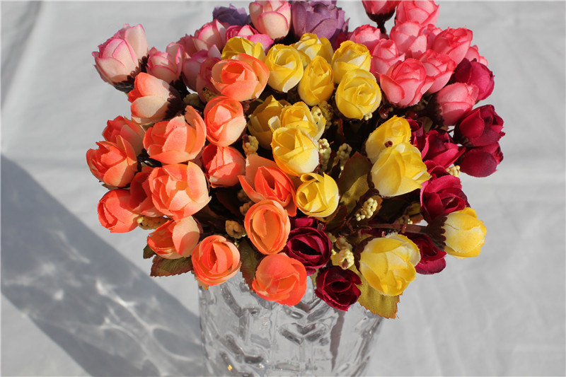 High Quality Multicolor Silk Tiny Rose Artifical Flowers for Decoration