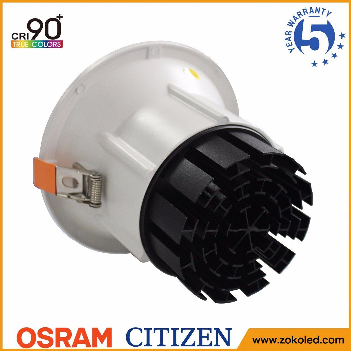 5-Year Warranty CRI90 Recessed 15W Citizen COB Downlight