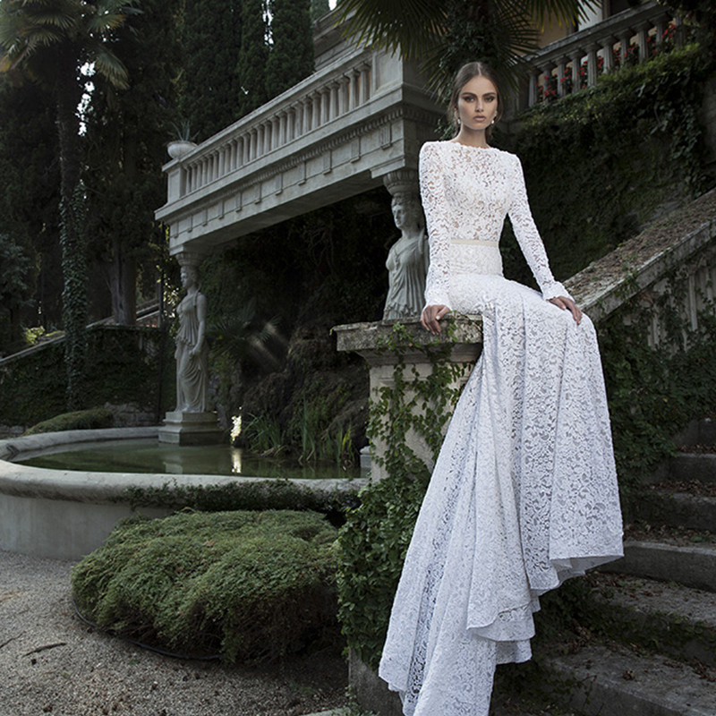 2017 French Lace Long Sleeves Mermaid Wedding Dress (Dream-100106)