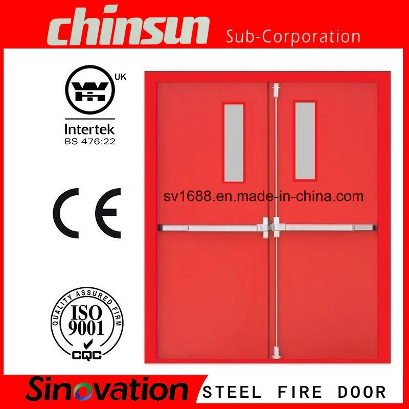 Double Steel Fire Door with Glass with BS and UL Certificate