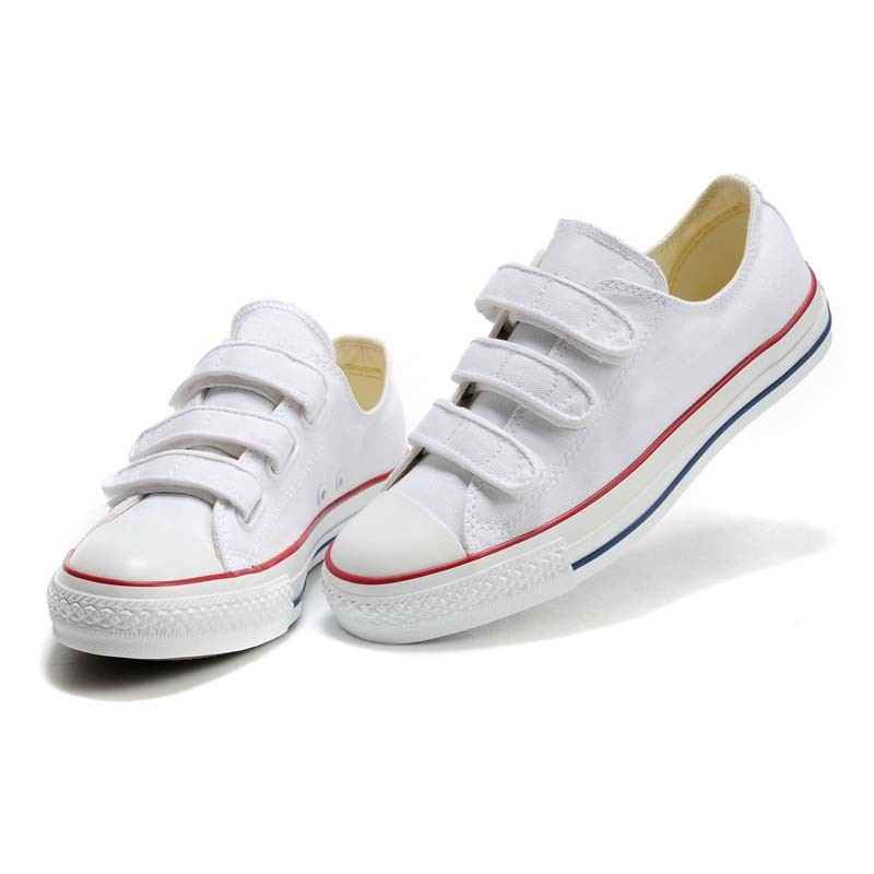 Classic Plain White Hook & Loop Cheap Kids/Children Sneakers Men/Women Canvas Shoes