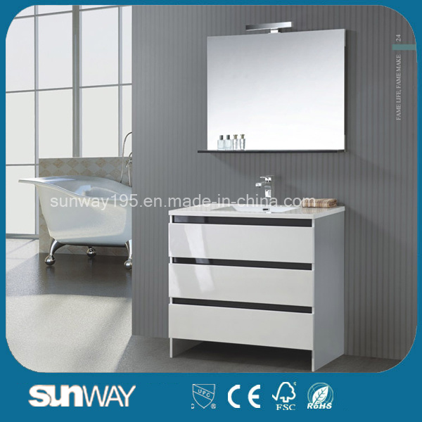 Hot Sell White Single Sink Curved Bathroom Cabinet with Mirror